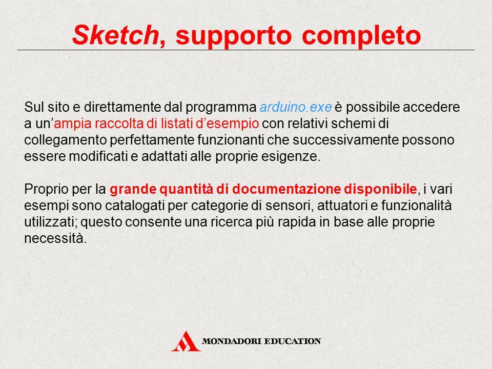 Sketch, supporto completo Sul sito e direttamente dal programma arduino.exe è possibile accedere a un'ampia raccolta di listati d'esempio con relativi