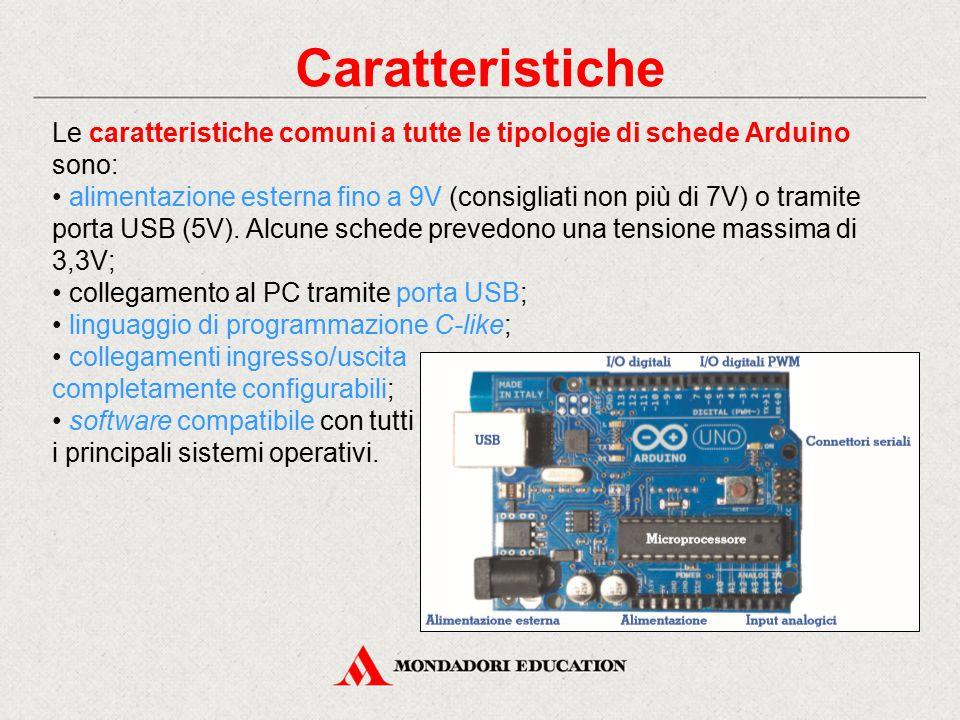 Caratteristiche Le caratteristiche comuni a tutte le tipologie di schede Arduino sono: alimentazione esterna fino a 9V (consigliati non più di 7V) o t