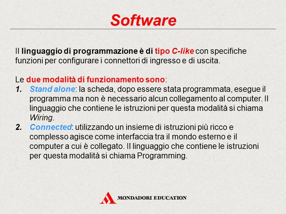 Software Il linguaggio di programmazione è di tipo C-like con specifiche funzioni per configurare i connettori di ingresso e di uscita. Le due modalit