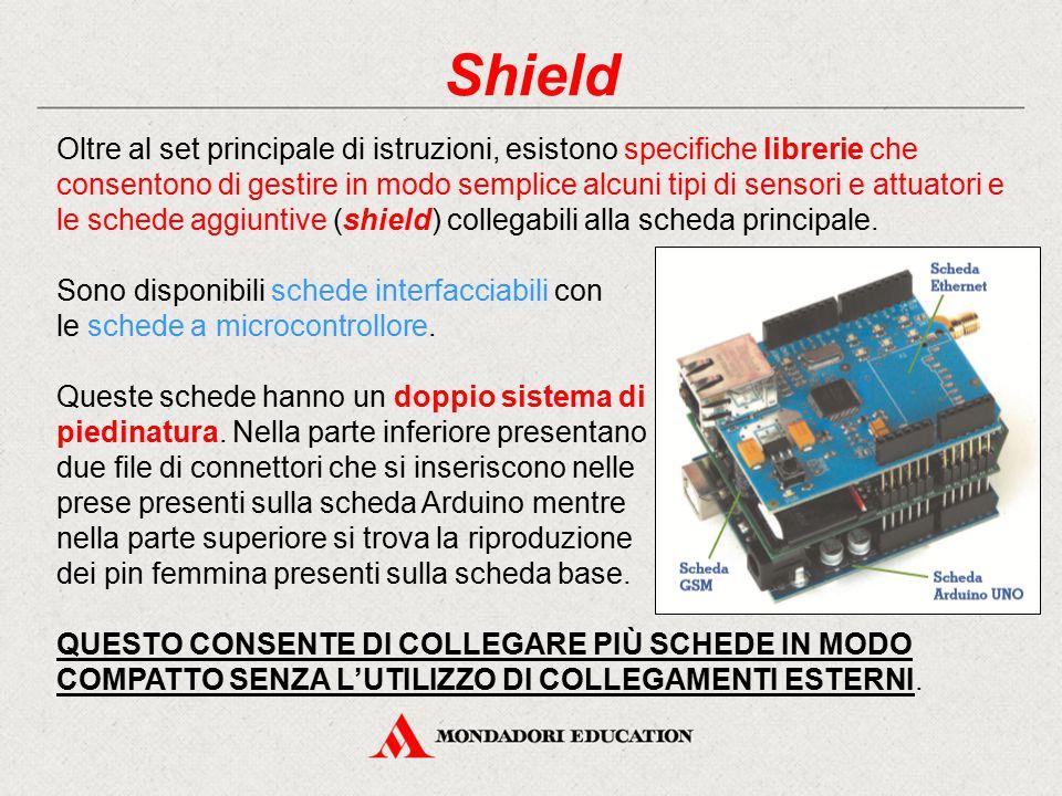 Shield Oltre al set principale di istruzioni, esistono specifiche librerie che consentono di gestire in modo semplice alcuni tipi di sensori e attuato