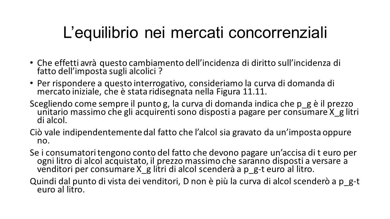 L'equilibrio nei mercati concorrenziali Che effetti avrà questo cambiamento dell'incidenza di diritto sull'incidenza di fatto dell'imposta sugli alcolici .