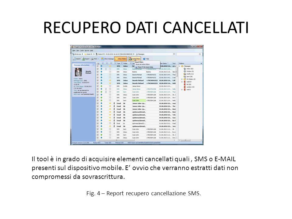 RECUPERO DATI CANCELLATI Fig.4 – Report recupero cancellazione SMS.