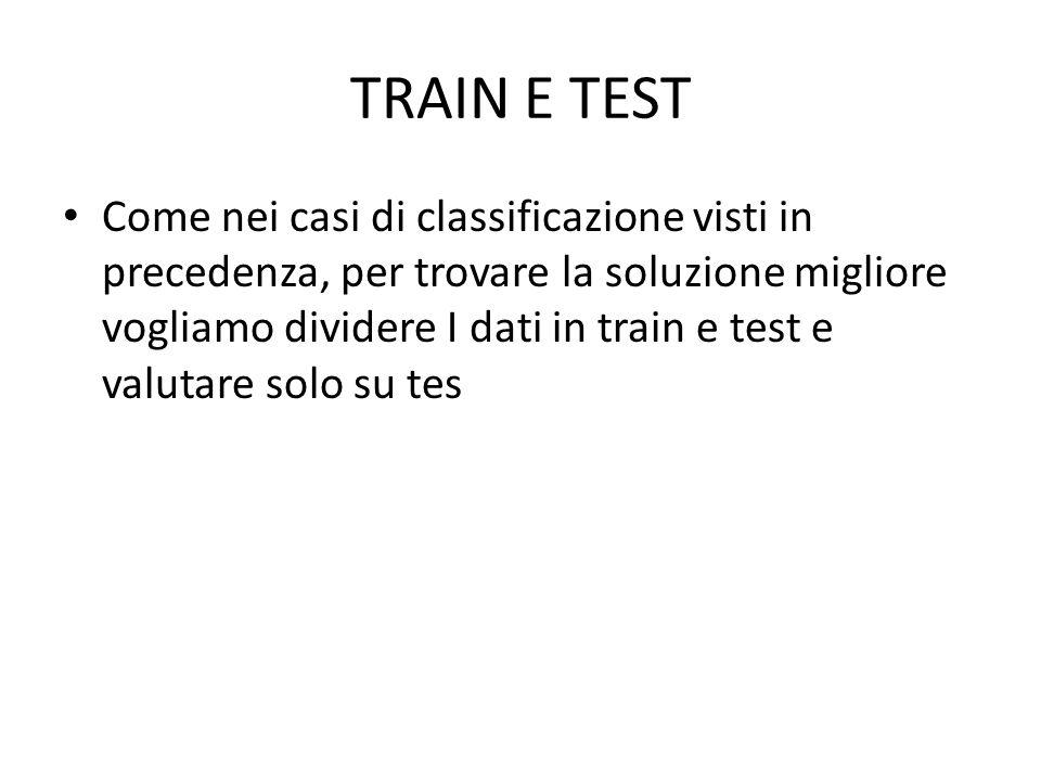 TRAIN E TEST Come nei casi di classificazione visti in precedenza, per trovare la soluzione migliore vogliamo dividere I dati in train e test e valutare solo su tes
