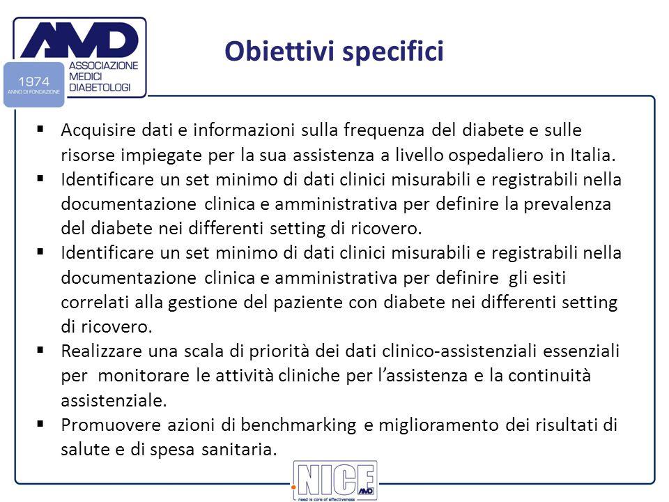  Acquisire dati e informazioni sulla frequenza del diabete e sulle risorse impiegate per la sua assistenza a livello ospedaliero in Italia.