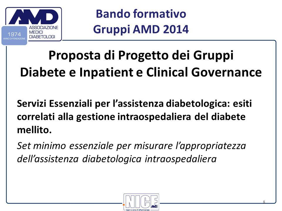 8 Proposta di Progetto dei Gruppi Diabete e Inpatient e Clinical Governance Servizi Essenziali per l'assistenza diabetologica: esiti correlati alla gestione intraospedaliera del diabete mellito.
