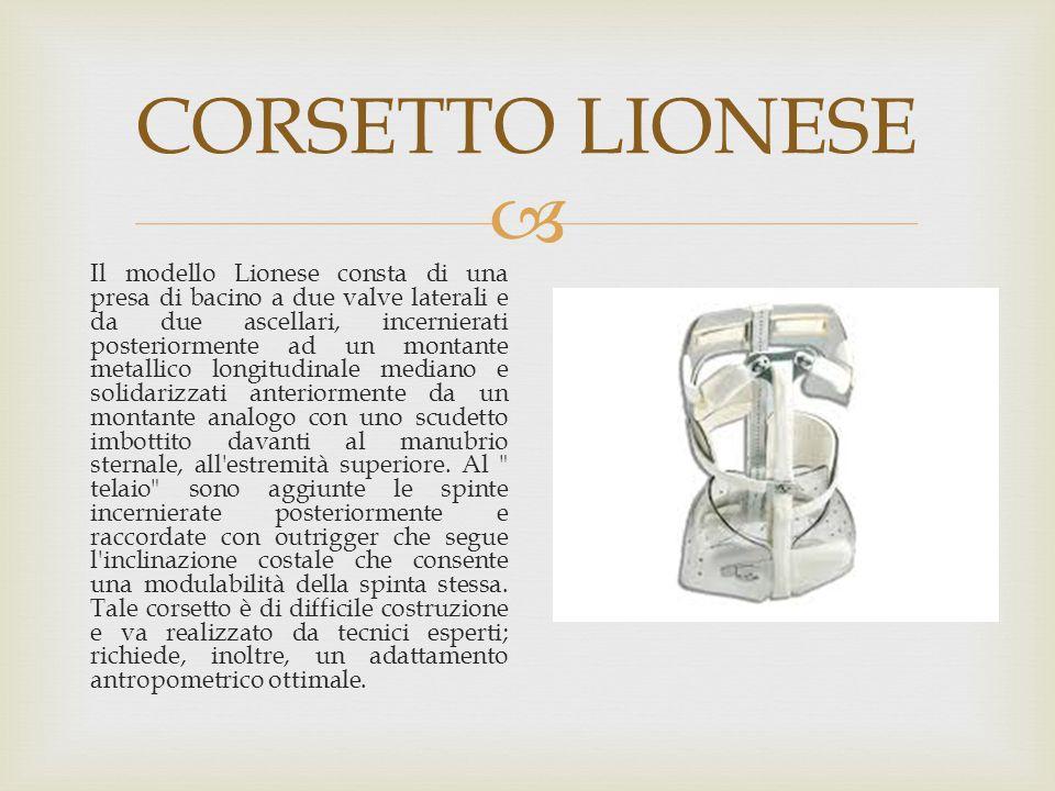  CORSETTO LIONESE Il modello Lionese consta di una presa di bacino a due valve laterali e da due ascellari, incernierati posteriormente ad un montant