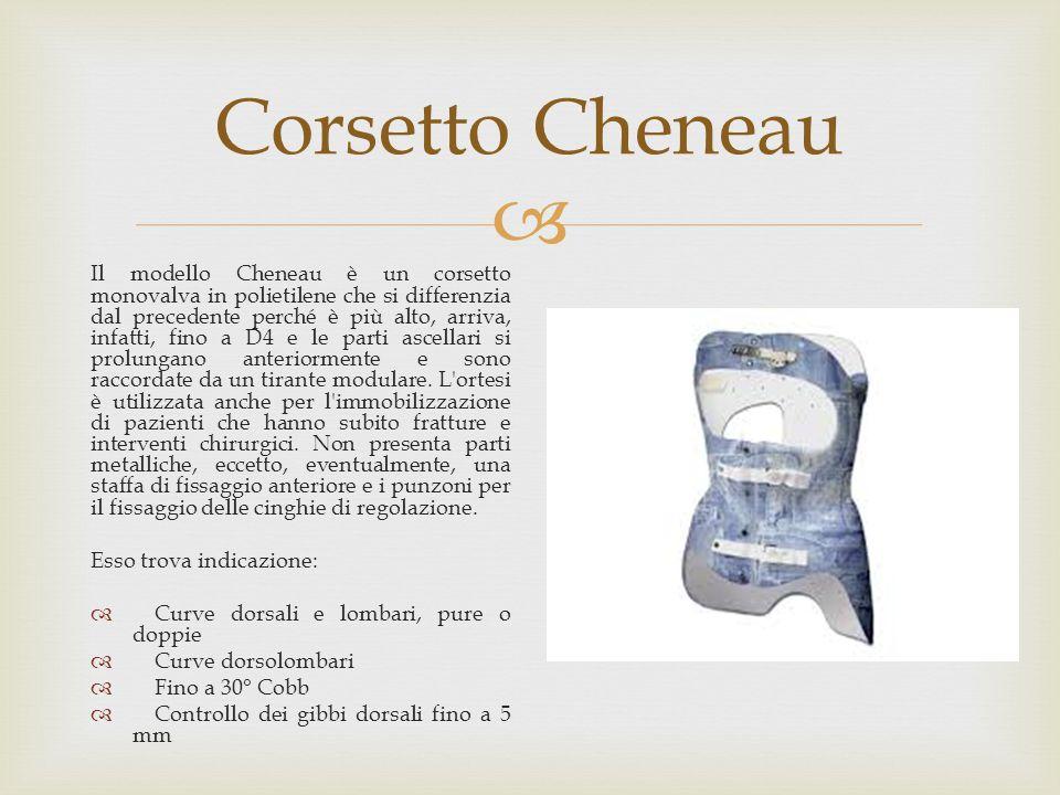  Corsetto Cheneau Il modello Cheneau è un corsetto monovalva in polietilene che si differenzia dal precedente perché è più alto, arriva, infatti, fin