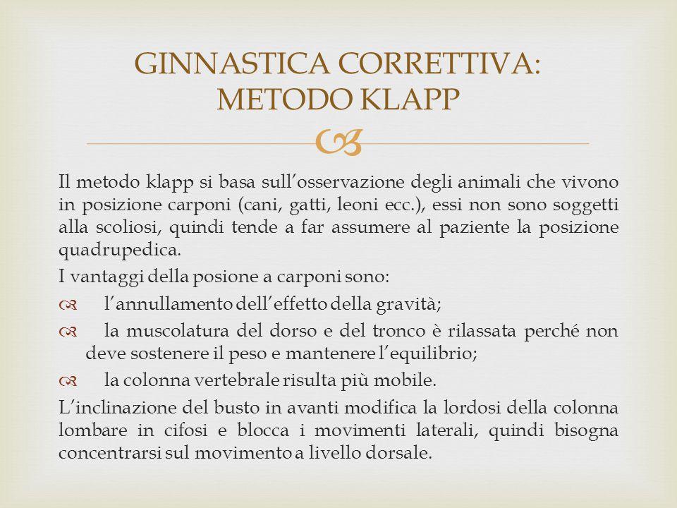  Il metodo klapp si basa sull'osservazione degli animali che vivono in posizione carponi (cani, gatti, leoni ecc.), essi non sono soggetti alla scoli