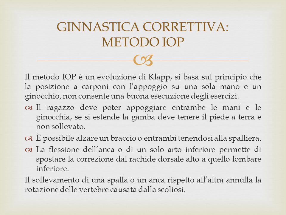  Il metodo IOP è un evoluzione di Klapp, si basa sul principio che la posizione a carponi con l'appoggio su una sola mano e un ginocchio, non consent