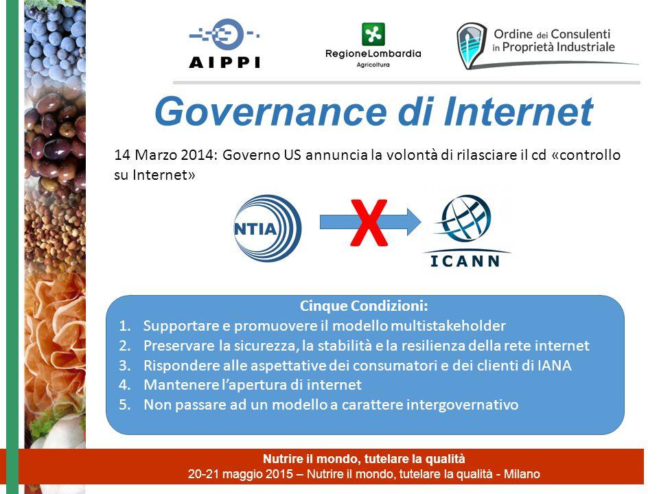 Nutrire il mondo, tutelare la qualità 20-21 maggio 2015 – Nutrire il mondo, tutelare la qualità - Milano Governance di Internet 14 Marzo 2014: Governo