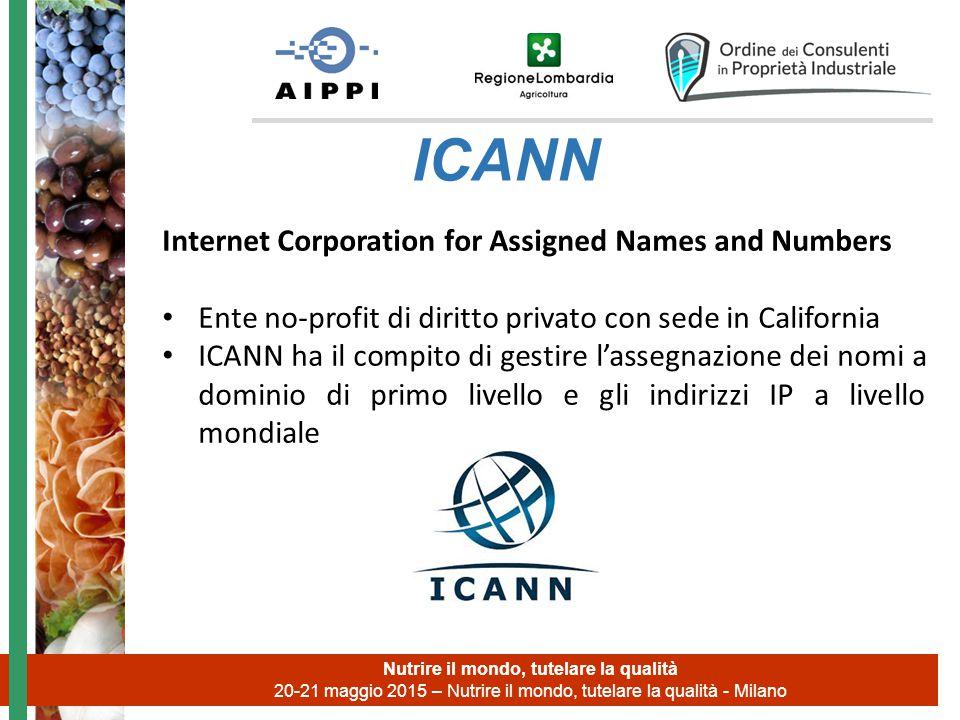 Nutrire il mondo, tutelare la qualità 20-21 maggio 2015 – Nutrire il mondo, tutelare la qualità - Milano ICANN Internet Corporation for Assigned Names