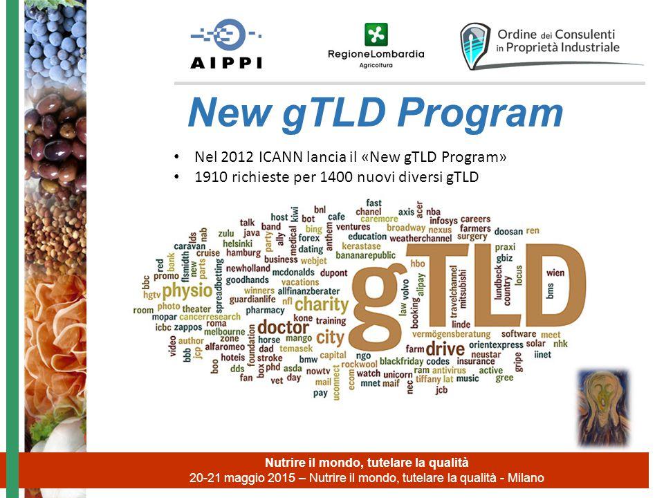 Nutrire il mondo, tutelare la qualità 20-21 maggio 2015 – Nutrire il mondo, tutelare la qualità - Milano New gTLD Program Nel 2012 ICANN lancia il «New gTLD Program» 1910 richieste per 1400 nuovi diversi gTLD
