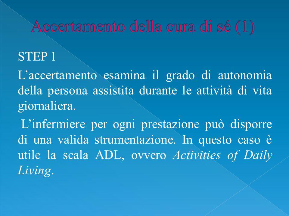 STEP 1 L'accertamento esamina il grado di autonomia della persona assistita durante le attività di vita giornaliera.
