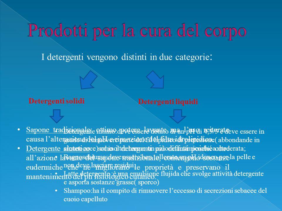 I detergenti vengono distinti in due categorie : Detergenti solidi Detergenti liquidi Sapone tradizionale: ottimo potere lavante ma l'uso reiterato causa l'alterazione del pH e rimozione del film idrolipidico.