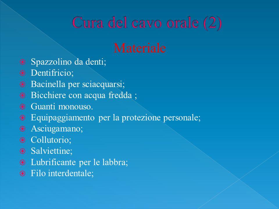 Materiale  Spazzolino da denti;  Dentifricio;  Bacinella per sciacquarsi;  Bicchiere con acqua fredda ;  Guanti monouso.