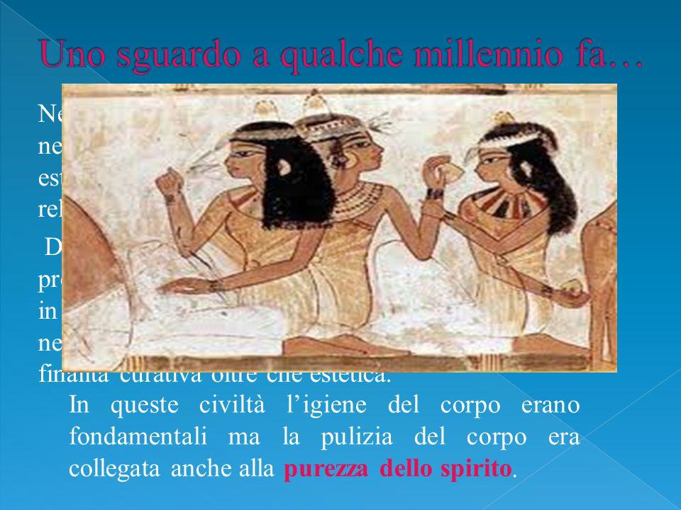Nella civiltà egizia la cosmesi era considerata una necessità per la cura del corpo, per la bellezza esteriore e non per ultimo aveva un significato religioso.