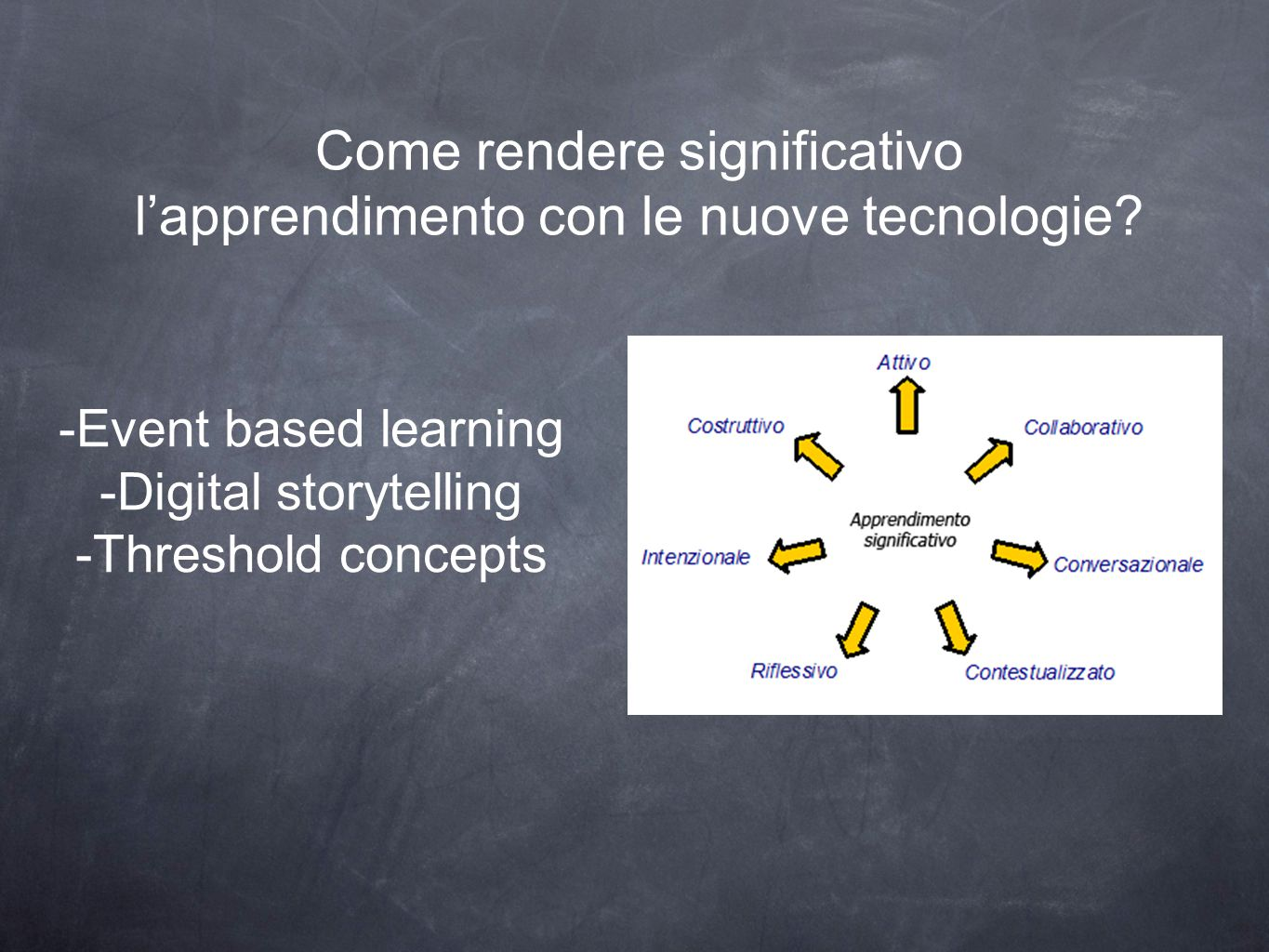 Come rendere significativo l'apprendimento con le nuove tecnologie? -Event based learning -Digital storytelling -Threshold concepts