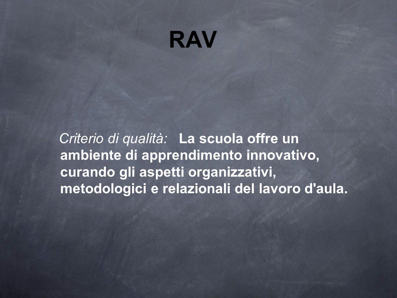 RAV Criterio di qualità: La scuola offre un ambiente di apprendimento innovativo, curando gli aspetti organizzativi, metodologici e relazionali del la