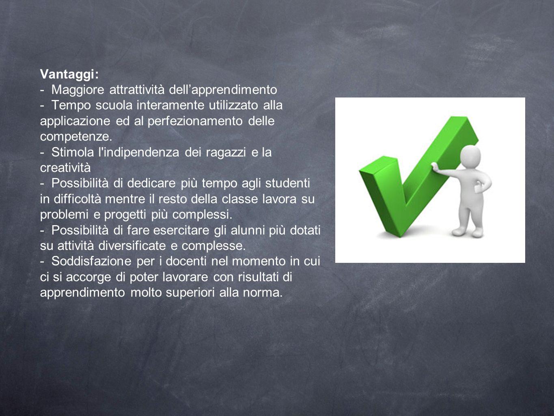 Vantaggi: - Maggiore attrattività dell'apprendimento - Tempo scuola interamente utilizzato alla applicazione ed al perfezionamento delle competenze. -