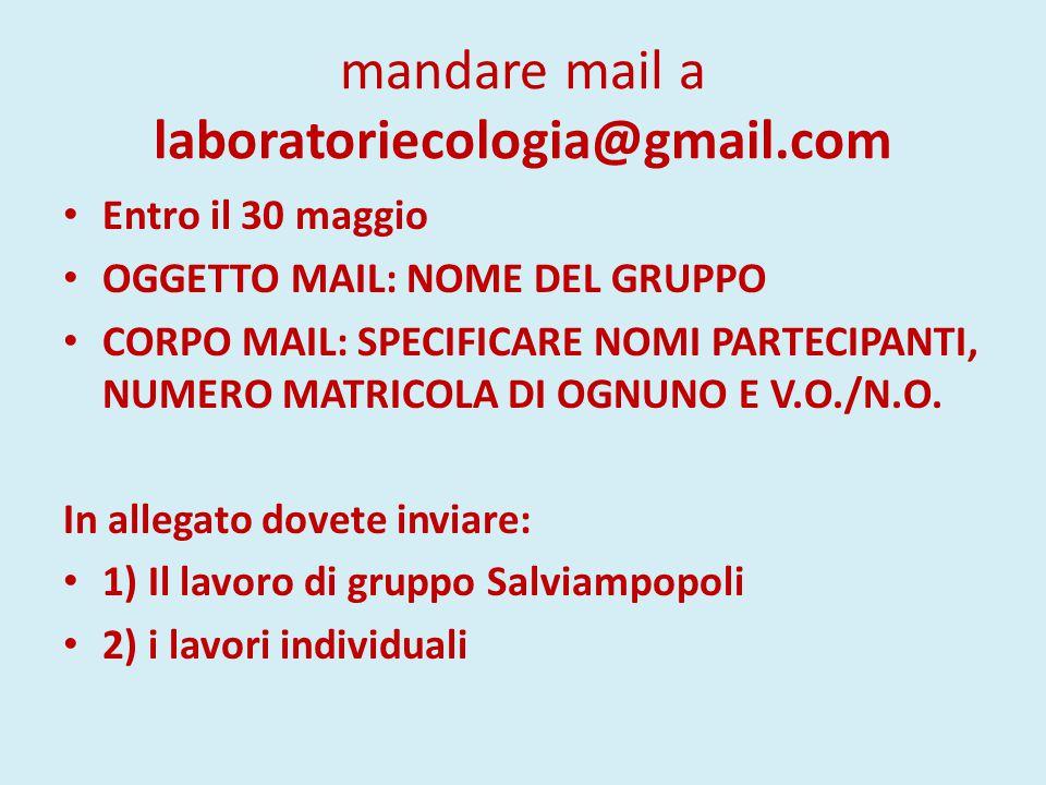 mandare mail a laboratoriecologia@gmail.com Entro il 30 maggio OGGETTO MAIL: NOME DEL GRUPPO CORPO MAIL: SPECIFICARE NOMI PARTECIPANTI, NUMERO MATRICOLA DI OGNUNO E V.O./N.O.