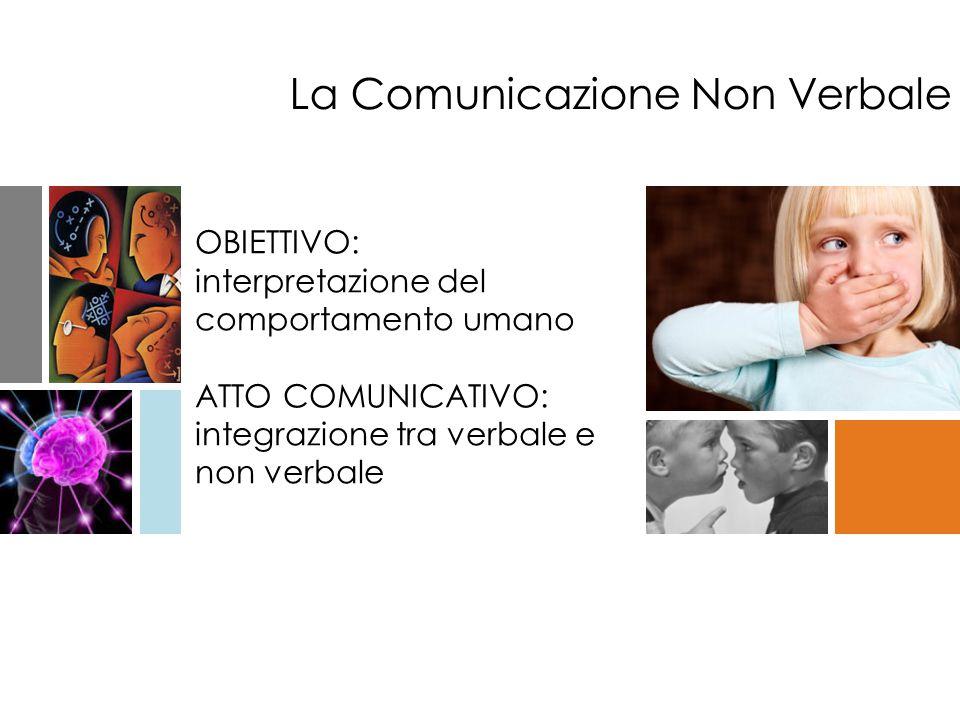 OBIETTIVO: interpretazione del comportamento umano ATTO COMUNICATIVO: integrazione tra verbale e non verbale La Comunicazione Non Verbale