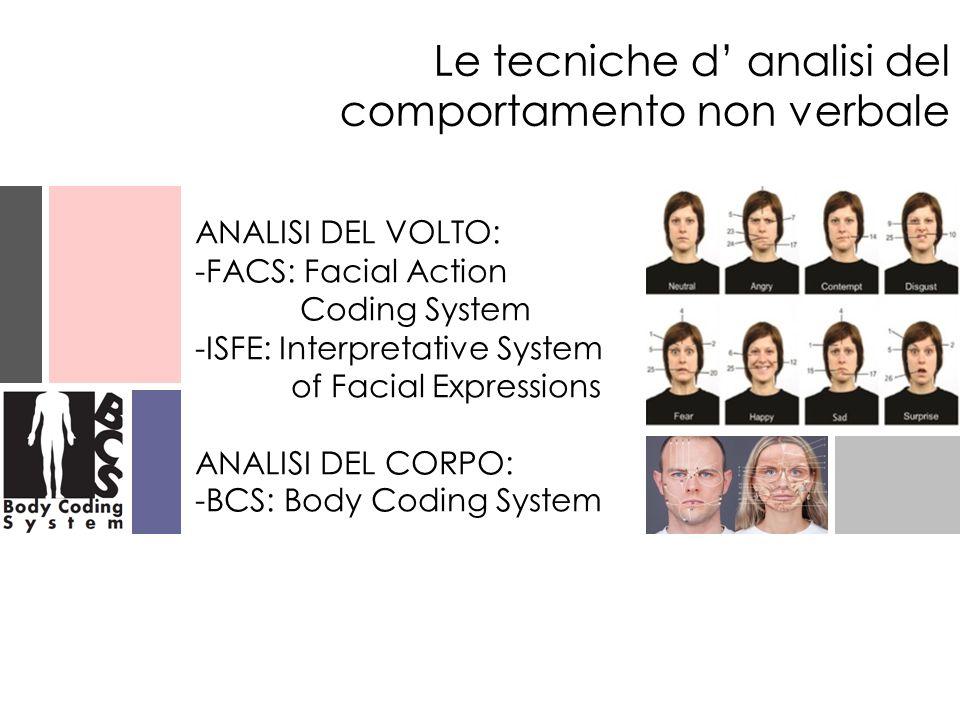 ANALISI DEL VOLTO: -FACS: Facial Action Coding System -ISFE: Interpretative System of Facial Expressions ANALISI DEL CORPO: -BCS: Body Coding System L