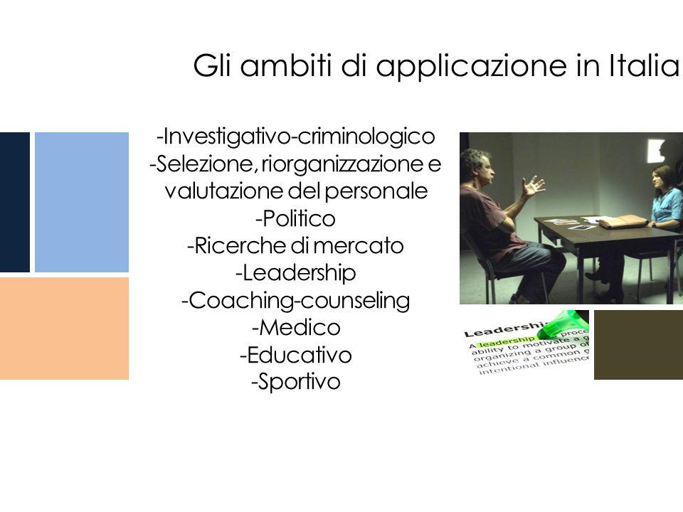 -Investigativo-criminologico -Selezione, riorganizzazione e valutazione del personale -Politico -Ricerche di mercato -Leadership -Coaching-counseling