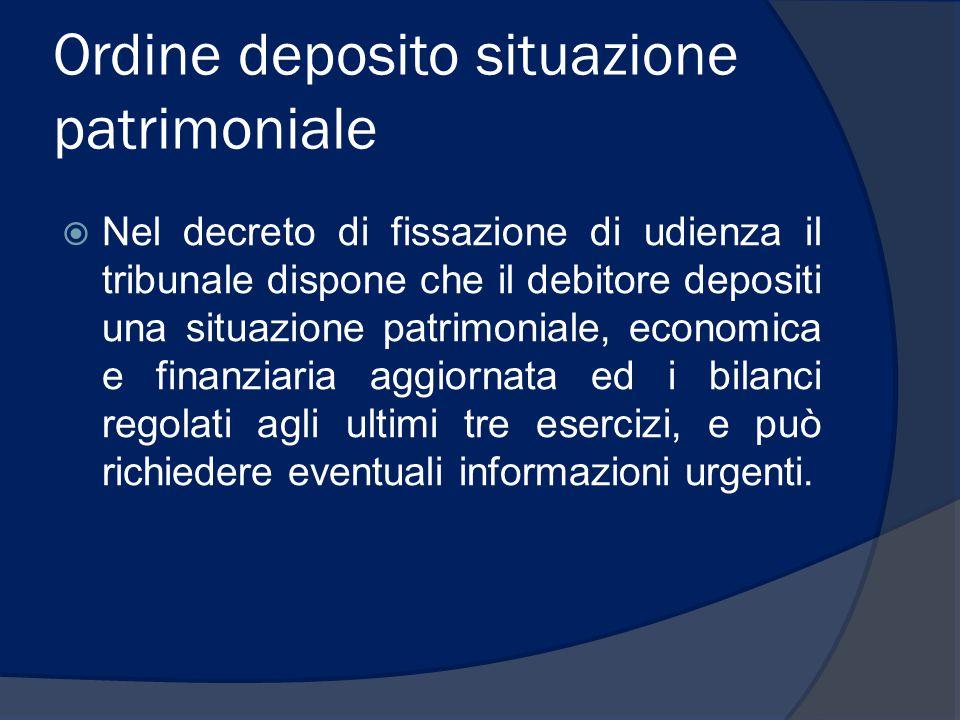 Ordine deposito situazione patrimoniale  Nel decreto di fissazione di udienza il tribunale dispone che il debitore depositi una situazione patrimonia
