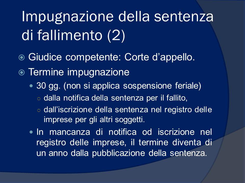 Impugnazione della sentenza di fallimento (2)  Giudice competente: Corte d'appello.  Termine impugnazione 30 gg. (non si applica sospensione feriale