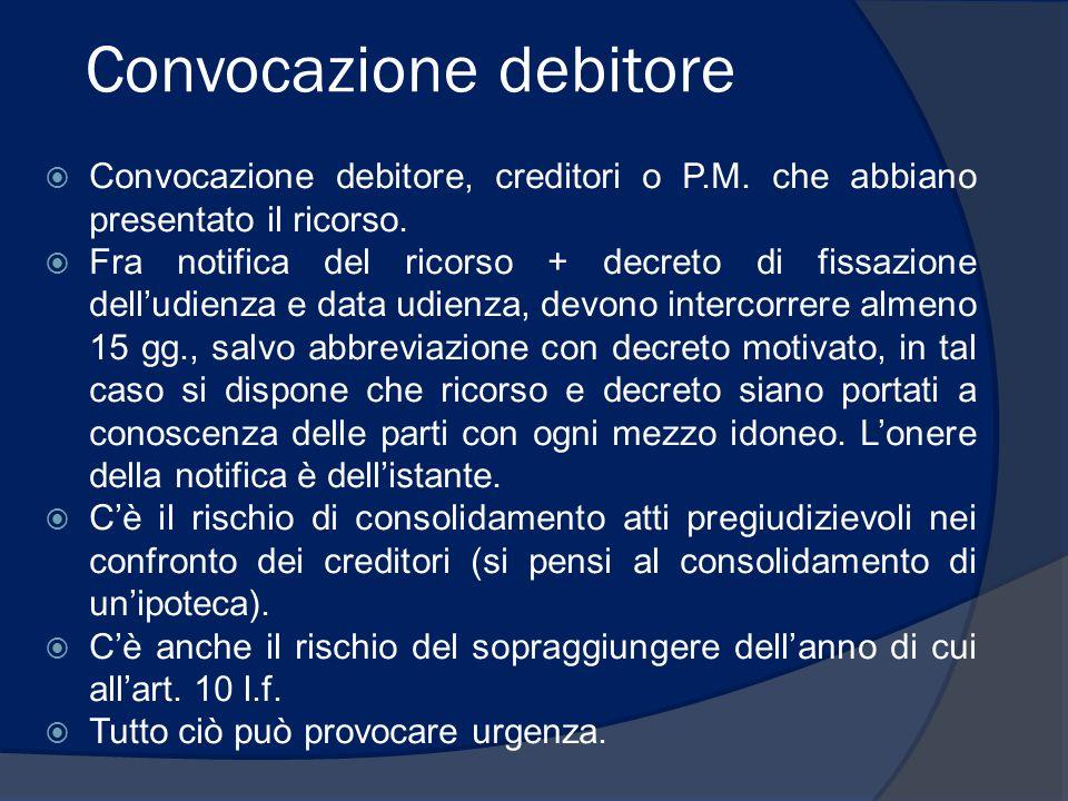 Convocazione debitore  Convocazione debitore, creditori o P.M. che abbiano presentato il ricorso.  Fra notifica del ricorso + decreto di fissazione