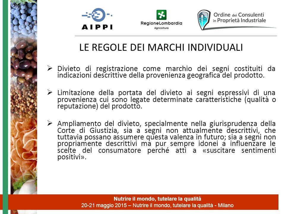 LE REGOLE DEI MARCHI INDIVIDUALI  Divieto di registrazione come marchio dei segni costituiti da indicazioni descrittive della provenienza geografica del prodotto.