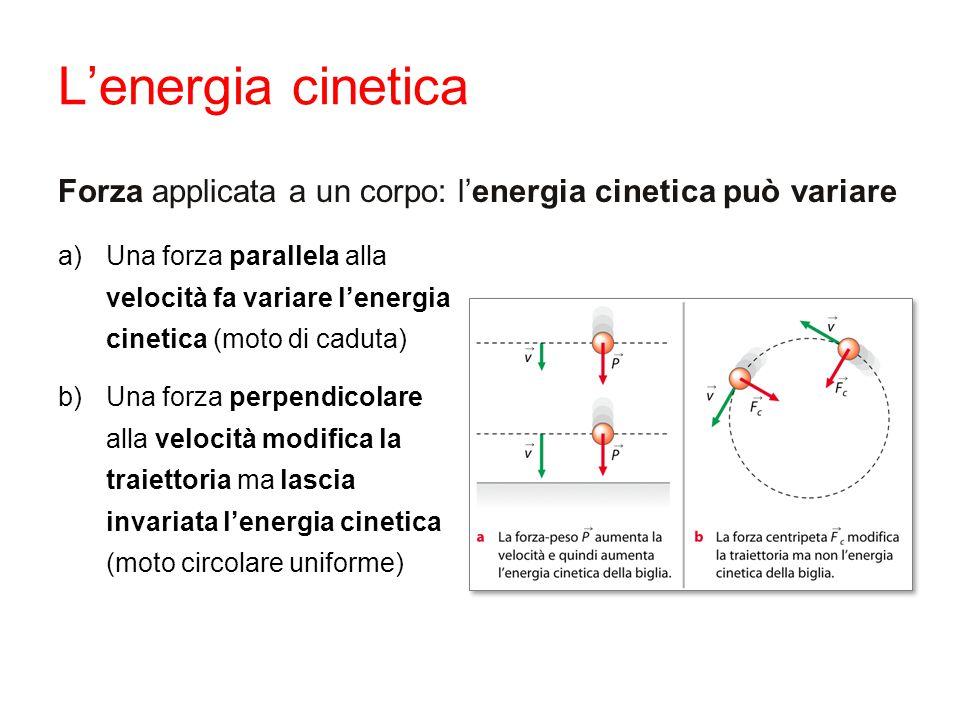 L'energia cinetica Forza applicata a un corpo: l'energia cinetica può variare a)Una forza parallela alla velocità fa variare l'energia cinetica (moto