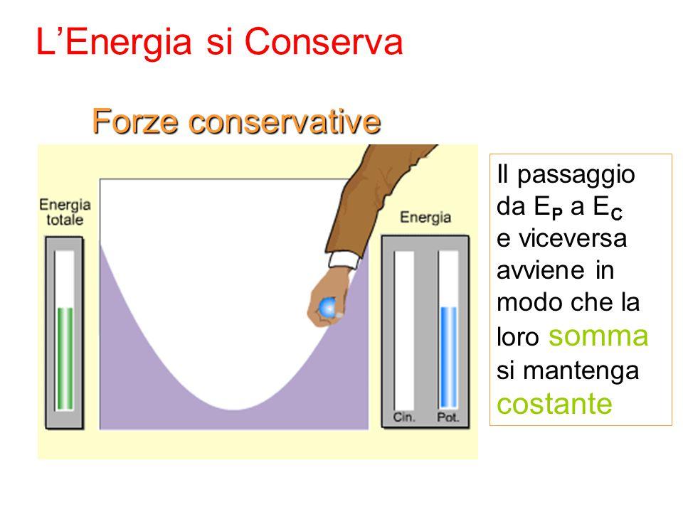 L'Energia si Conserva Il passaggio da E P a E C e viceversa avviene in modo che la loro somma si mantenga costante Forze conservative