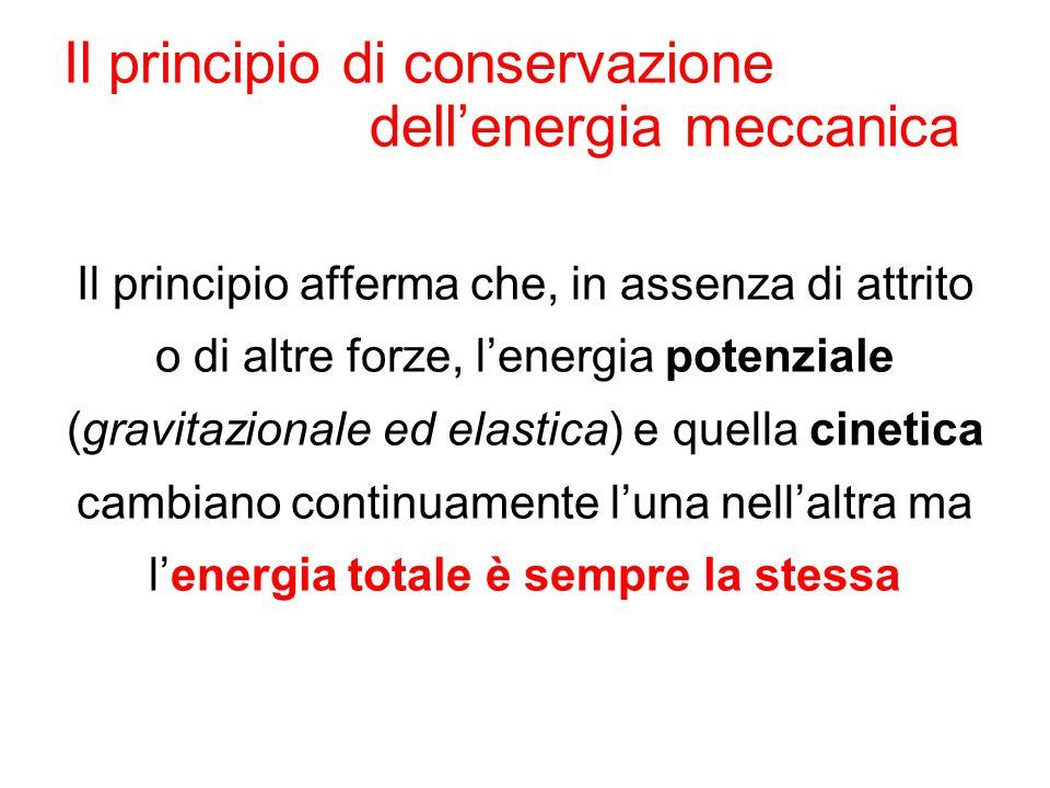 Il principio di conservazione dell'energia meccanica Il principio afferma che, in assenza di attrito o di altre forze, l'energia potenziale (gravitazi