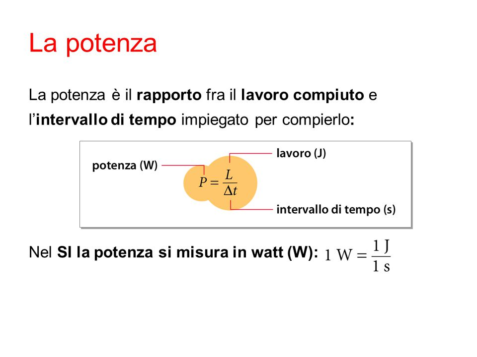 Nel SI la potenza si misura in watt (W): La potenza è il rapporto fra il lavoro compiuto e l'intervallo di tempo impiegato per compierlo:
