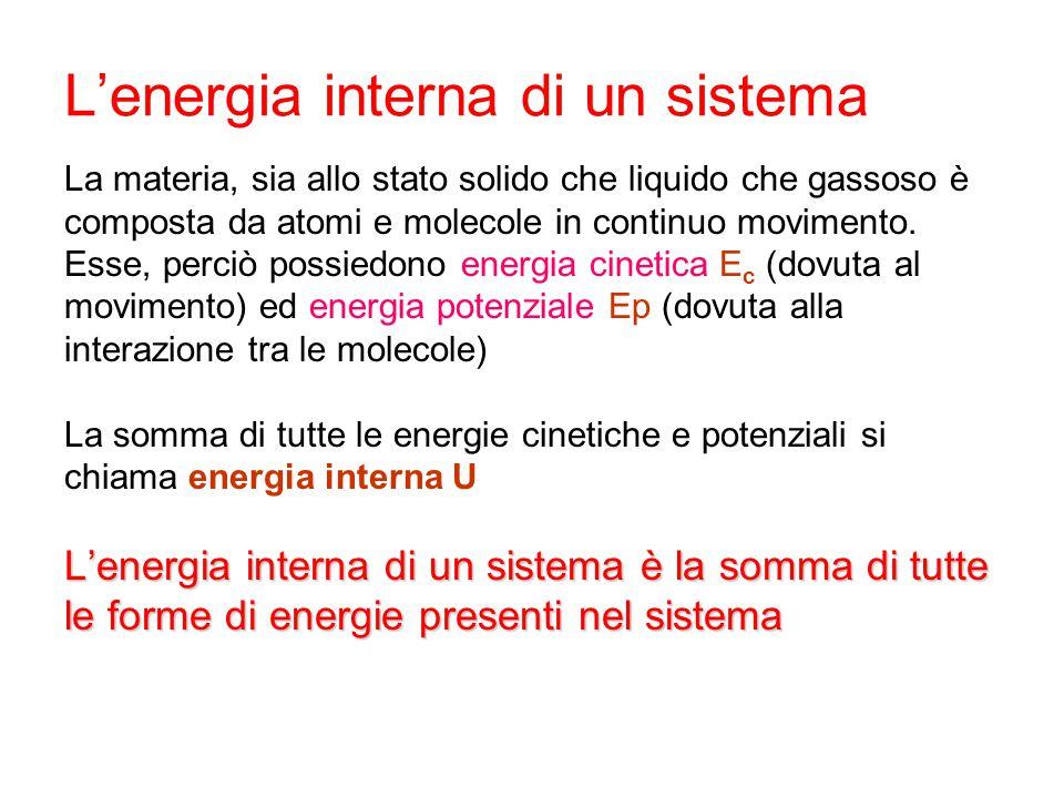 L'energia interna di un sistema La materia, sia allo stato solido che liquido che gassoso è composta da atomi e molecole in continuo movimento. Esse,