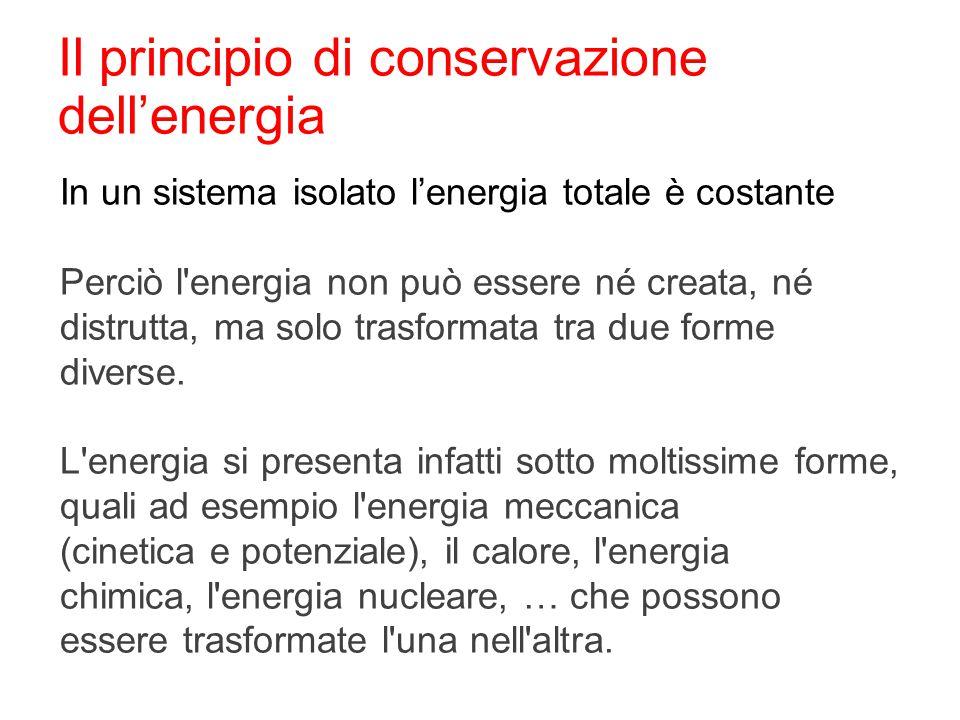 Il principio di conservazione dell'energia In un sistema isolato l'energia totale è costante Perciò l'energia non può essere né creata, né distrutta,