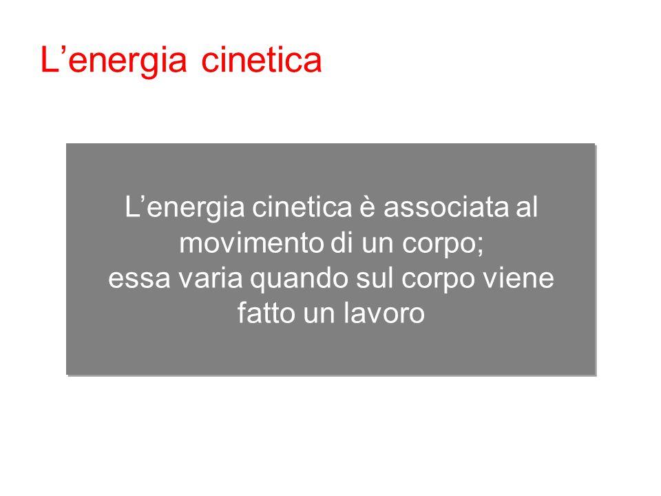 L'energia cinetica è associata al movimento di un corpo; essa varia quando sul corpo viene fatto un lavoro L'energia cinetica