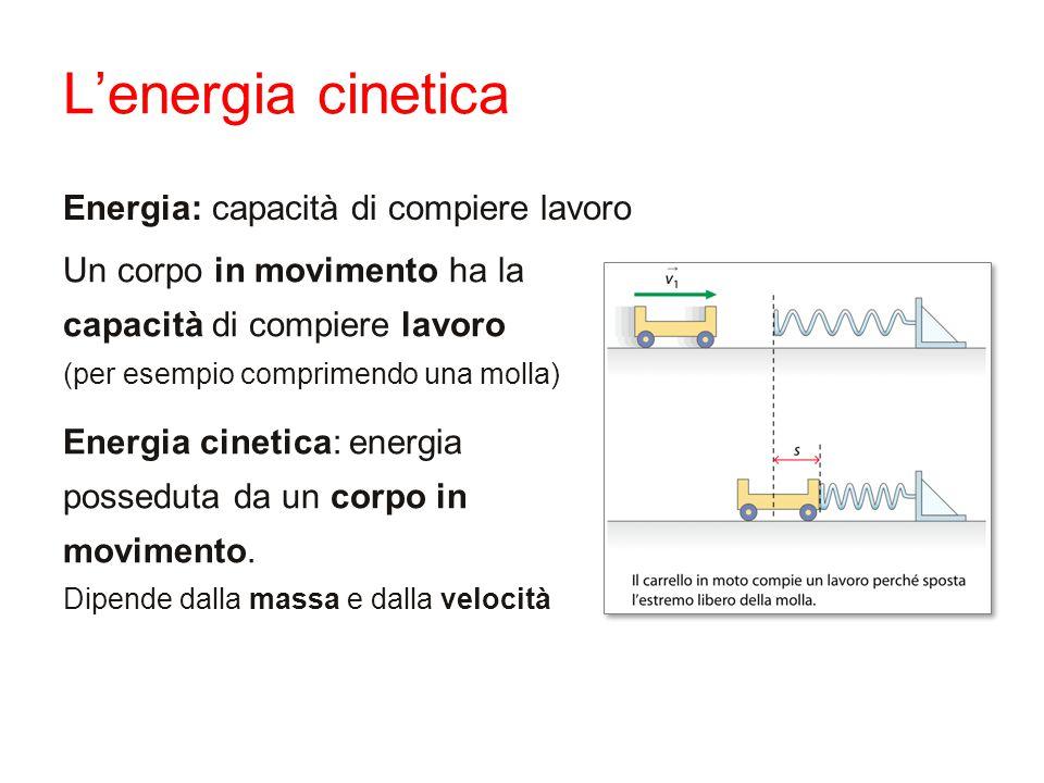 Energia: capacità di compiere lavoro Un corpo in movimento ha la capacità di compiere lavoro (per esempio comprimendo una molla) Energia cinetica: ene