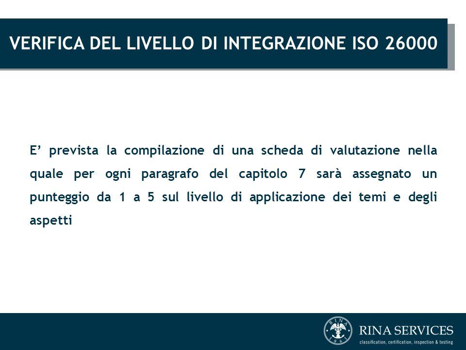 VERIFICA DEL LIVELLO DI INTEGRAZIONE ISO 26000 E' prevista la compilazione di una scheda di valutazione nella quale per ogni paragrafo del capitolo 7
