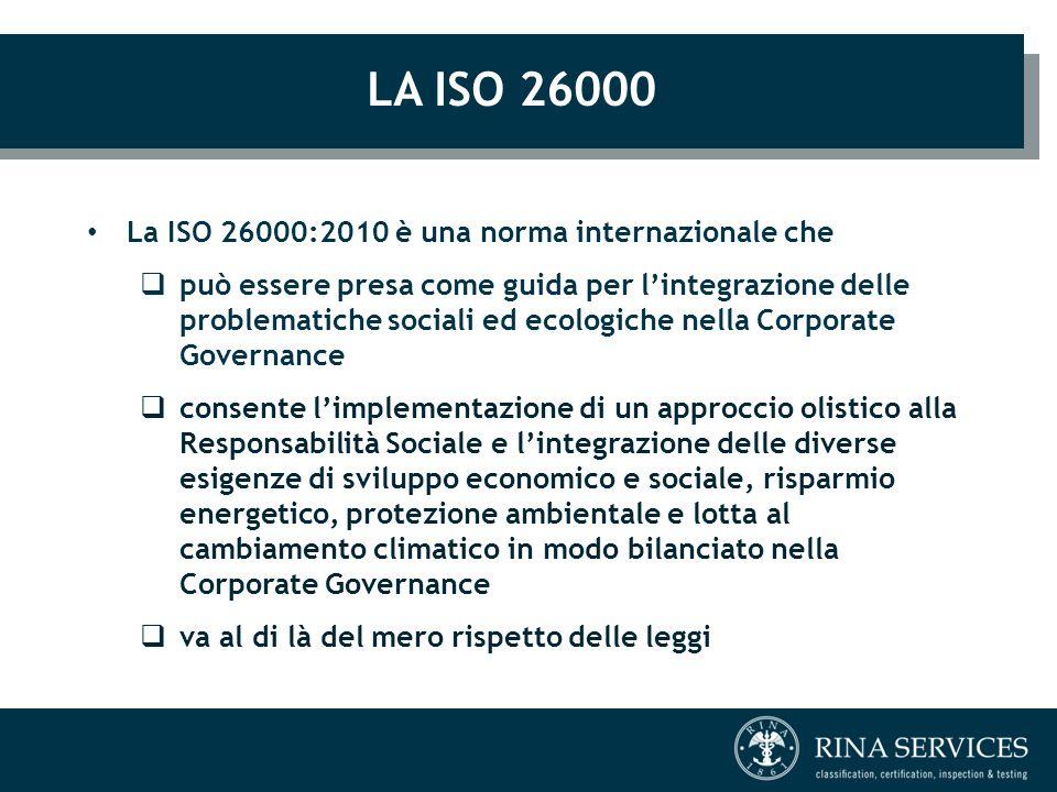 LA ISO 26000 La ISO 26000:2010 è una norma internazionale che  può essere presa come guida per l'integrazione delle problematiche sociali ed ecologic
