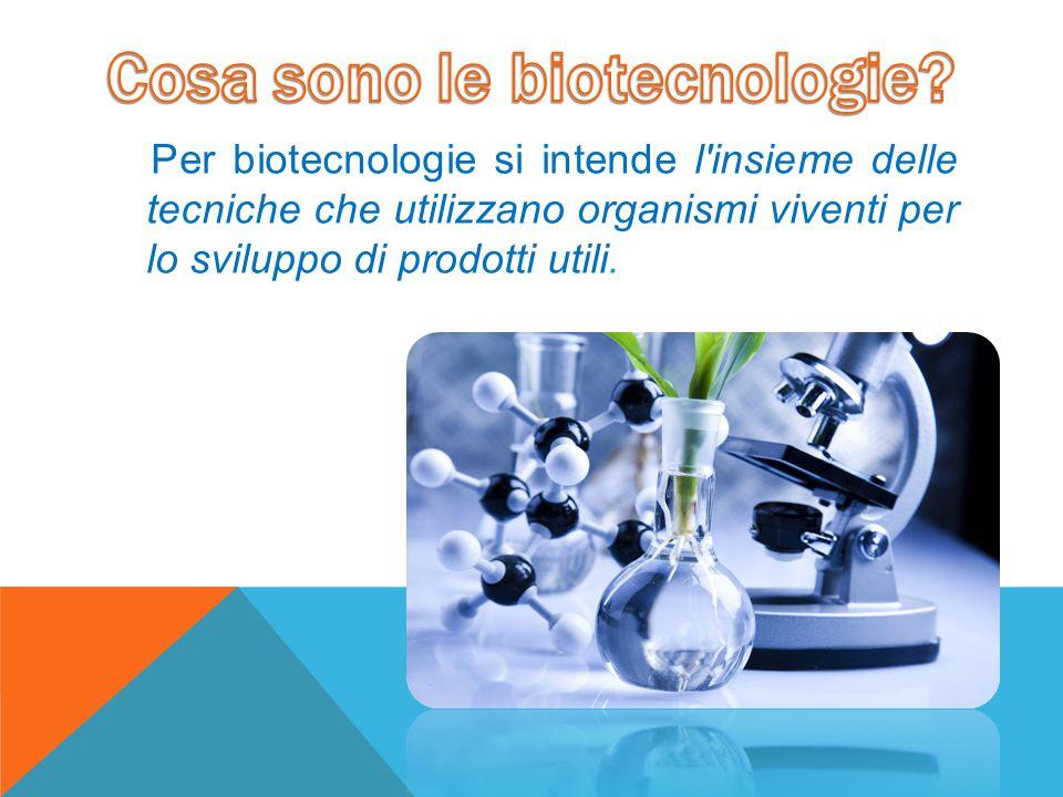 Per biotecnologie si intende l'insieme delle tecniche che utilizzano organismi viventi per lo sviluppo di prodotti utili.
