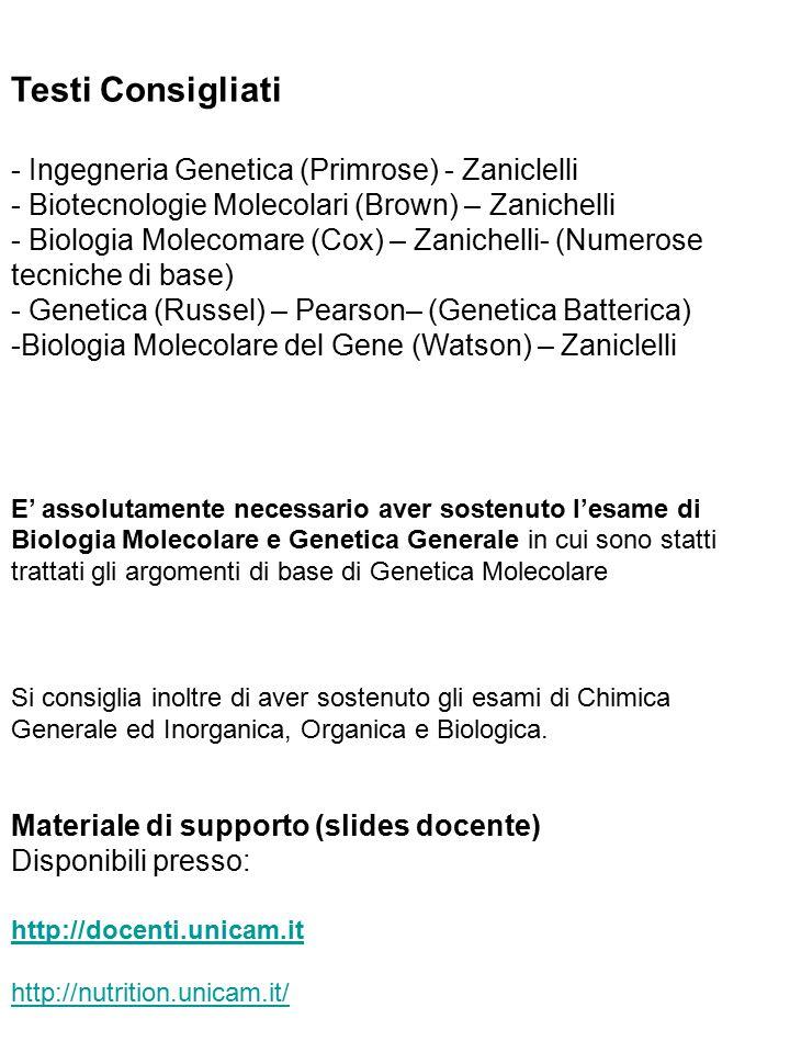 Testi Consigliati - Ingegneria Genetica (Primrose) - Zaniclelli - Biotecnologie Molecolari (Brown) – Zanichelli - Biologia Molecomare (Cox) – Zanichel