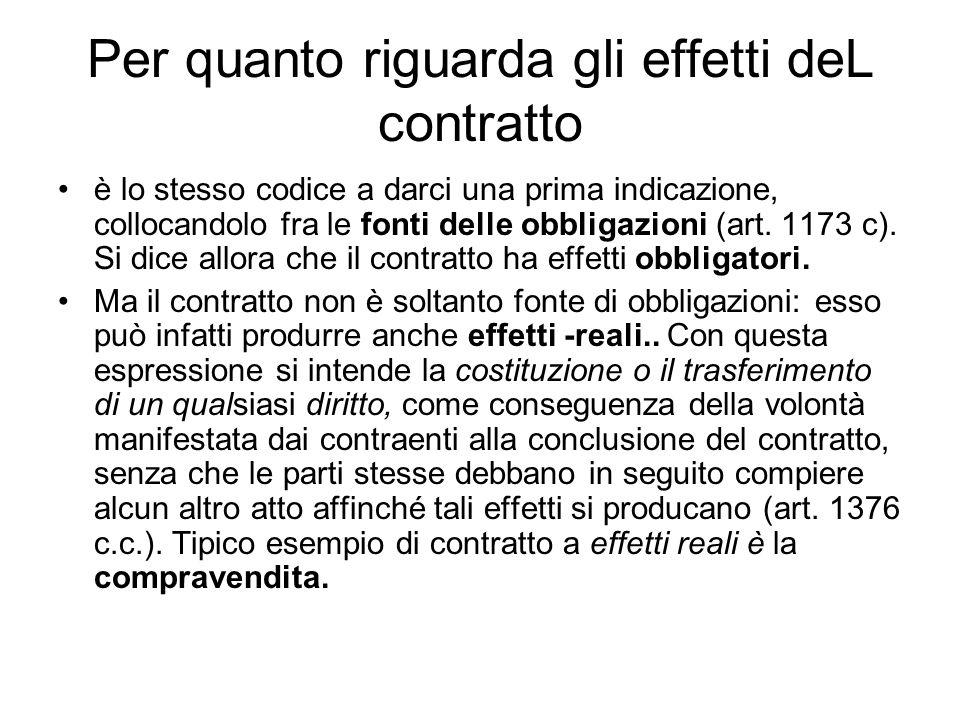 Per quanto riguarda gli effetti deL contratto è lo stesso codice a darci una prima indicazione, collocandolo fra le fonti delle obbligazioni (art.