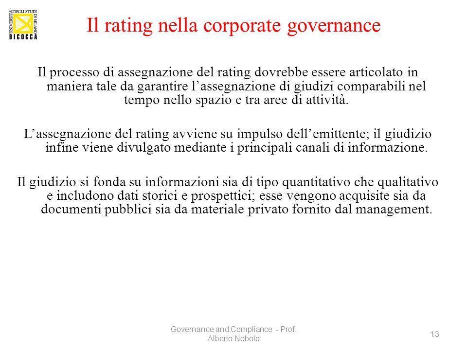 Il rating nella corporate governance Il processo di assegnazione del rating dovrebbe essere articolato in maniera tale da garantire l'assegnazione di