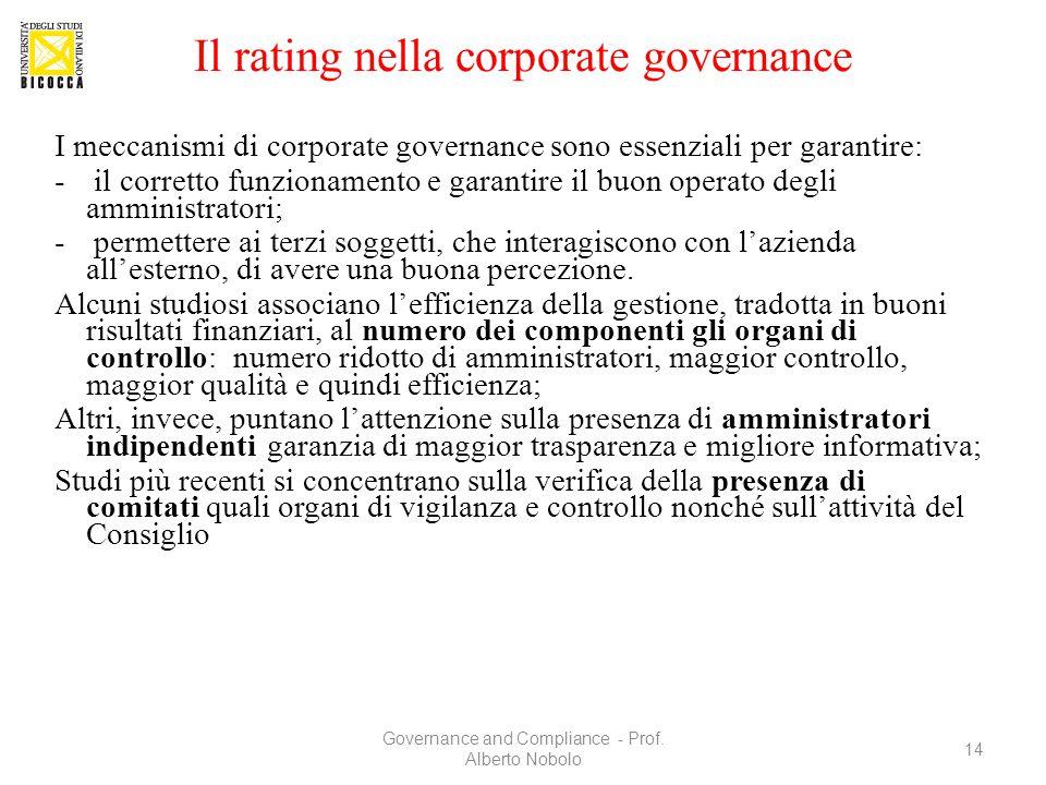 Il rating nella corporate governance I meccanismi di corporate governance sono essenziali per garantire: - il corretto funzionamento e garantire il bu