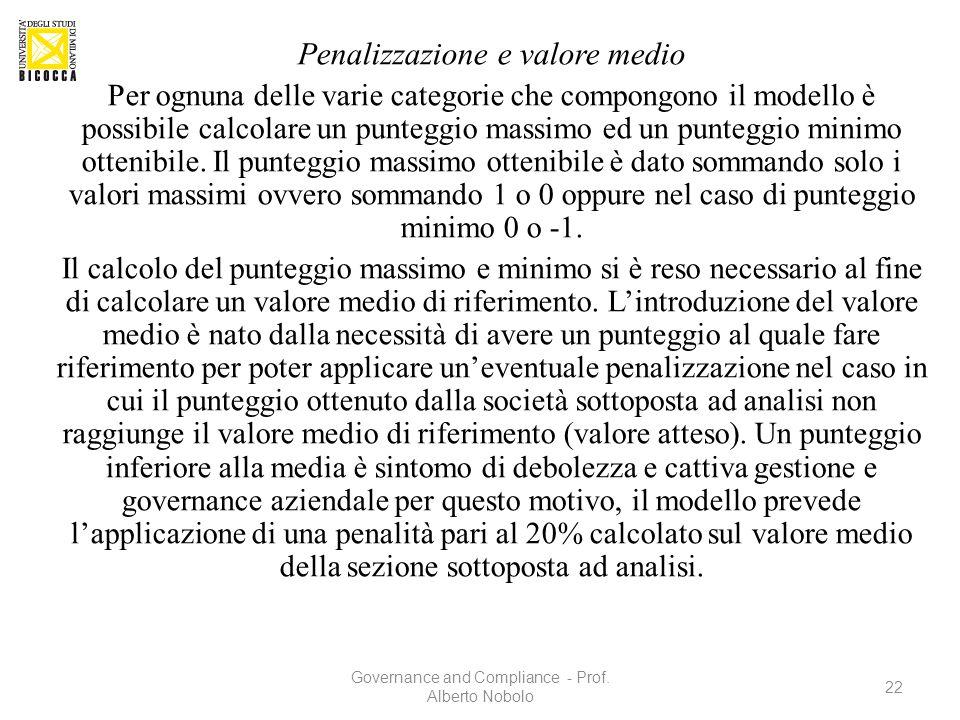 Penalizzazione e valore medio Per ognuna delle varie categorie che compongono il modello è possibile calcolare un punteggio massimo ed un punteggio mi