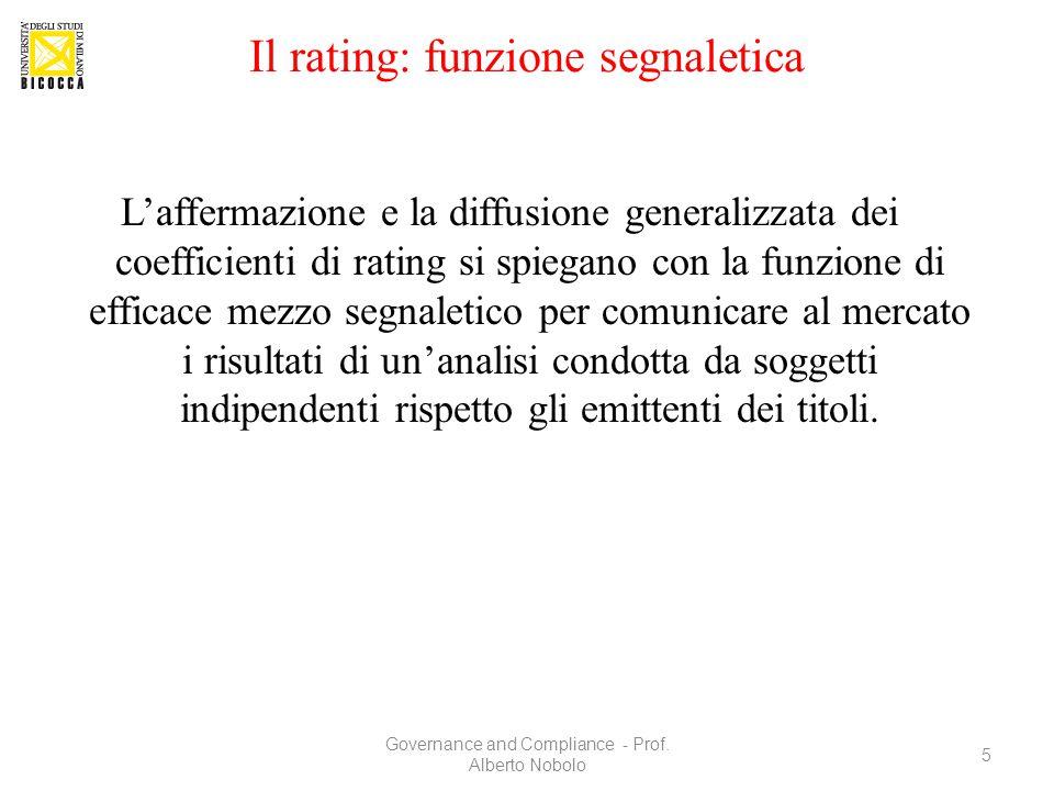 Il rating: funzione segnaletica L'affermazione e la diffusione generalizzata dei coefficienti di rating si spiegano con la funzione di efficace mezzo
