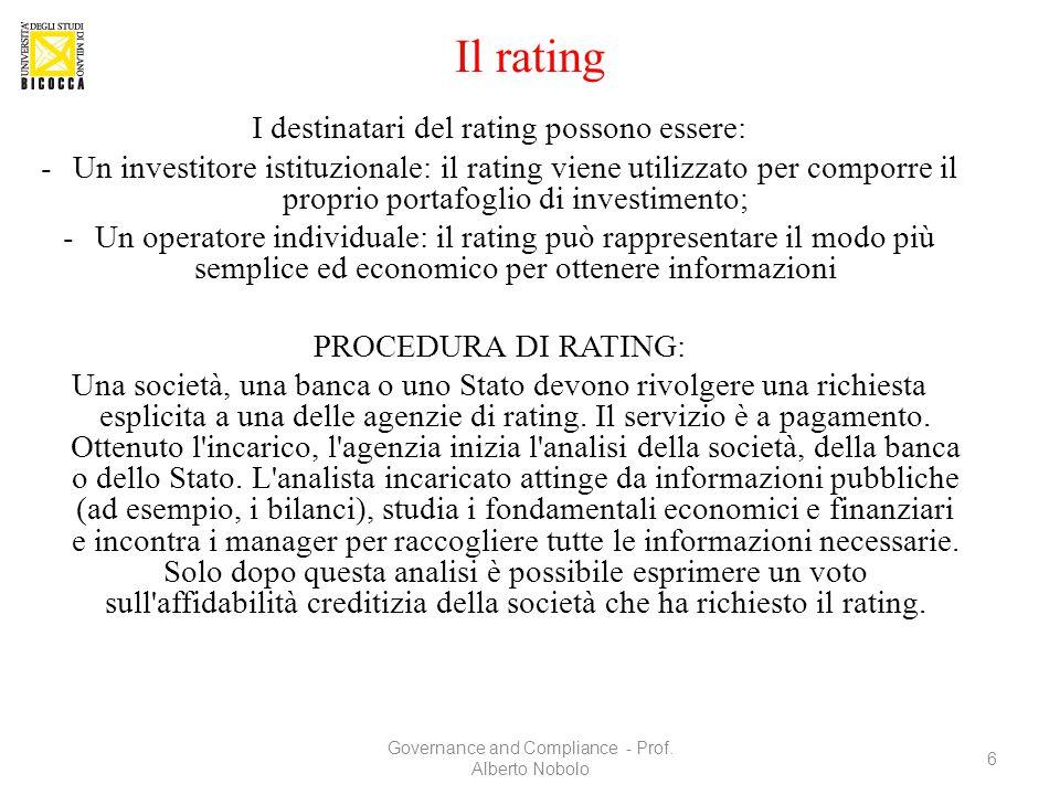 Il rating I destinatari del rating possono essere: -Un investitore istituzionale: il rating viene utilizzato per comporre il proprio portafoglio di in