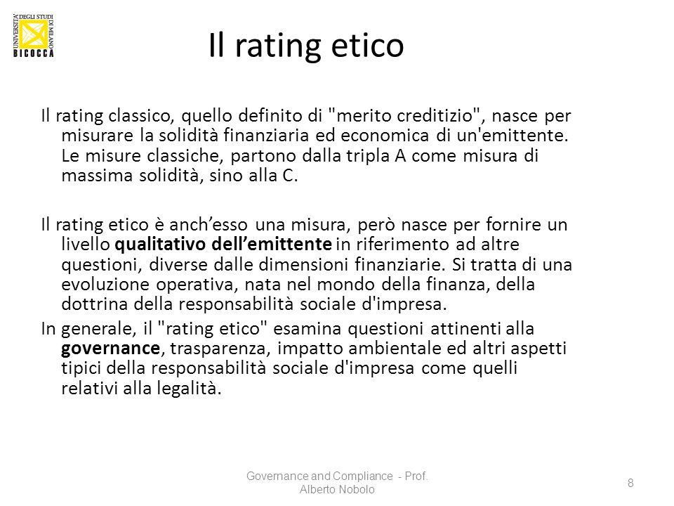 Il rating etico Il rating classico, quello definito di
